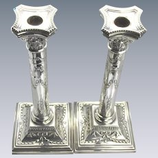 "A Pair of Aesthetic Solid Sterling Silver 12"" Candlesticks, 790g, 1932"