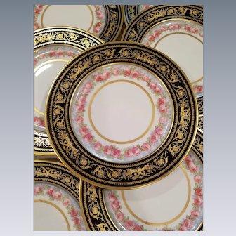12 Antique WM Guerin & Co Limoges Cobalt Floral & Gold Gilt Rim Plates Chargers