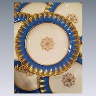 7 Copeland, Spode Dinner Plates Turquoise & Gold