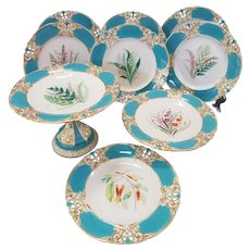 Set of 15 Antique Royal Worcester Hand-Painted Reticulated Botanical Plates