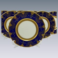 12 Lenox Embossed Cobalt Gold Dinner Plates