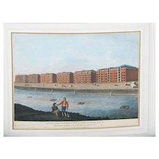 C1794-1812 Georgian Hand Coloured Engraving London Docks
