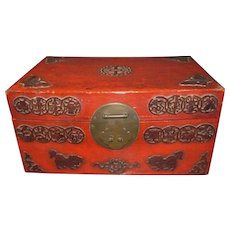 C1890 CHINESE RED LACQUER ON LEATHER BOX