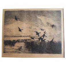 "Original  Etching ""After Sunset"" Frank Weston Benson 1862-1951 Signed"