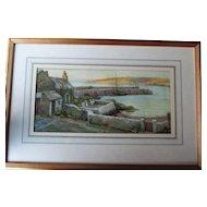 """C1903 Watercolour Ernest Hill 1873-1960 Newlyn School Cornwall """"Newlyn Harbour"""""""