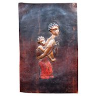 Stunning 1950s Vintage Copper Plaque African Woman & Child