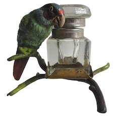Antique Edwardian Cold Painted Parrot Desk Inkwell