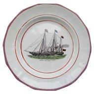 "C1850 Sunderland Southwick Pottery Plate "" Victoria & Albert Yacht"""