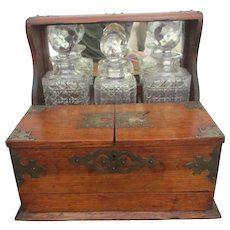 Victorian Antique C1890 Oak Games Decanter Tantalus