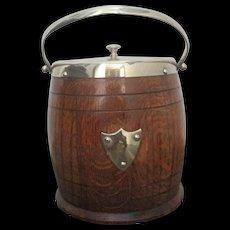 Edwardian English Oak Silver Plate Biscuit Barrel