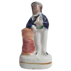 Rare Victorian miniature Staffordshire Pottery Sailor Figure
