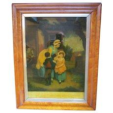 Reverse glass image in original bur walnut frame