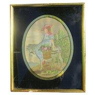 English Victorian Silkwork / Sampler