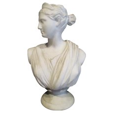 Victorian Parian Ware Desk Bust Diana The Huntress