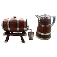 Superb Edwardian Oak & Silver Plate Drinks Barrel & Pitcher
