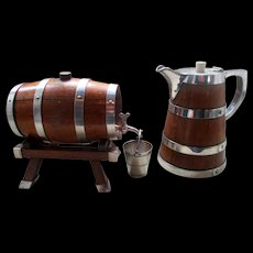 Superb Edwardian Oak & Silver Plate Drinks Barrel & Pitcher