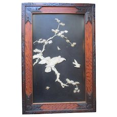 Meiji Period Japanese Bone & Mother of Pearl Framed Eagle Panel