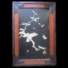 Meiji Period Japanese Bone & Mother of Pearl Framed Eagle Panel