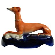 Good Victorian Staffordshire Greyhound Whippet With Prey Ink Well Quill Stand