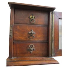 C1890 Antique English Collectors Cabinet