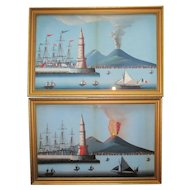 Fine Pair C19th Neapolitan Bay Of Naples Paintings Guache Vesuvius Erupting Day & Night