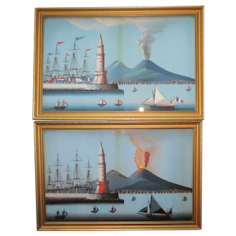 Fine Pair C19th Neapolitan Bay Of Naples Paintings Guache Vesuvius Erupting Day & Night