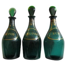 Pair Georgian C1800 Bristol Green Glass Decanters