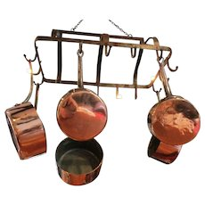 English Victorian Steel Hanger and Set of Period Copper & Steel Pans