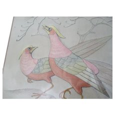 C1900 Pair of Large Antique Chinese Silk and Thread Pictures of Birds
