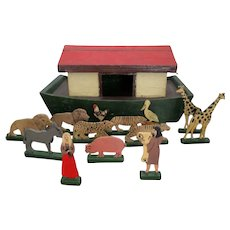 Victorian Antiques English Large Noah Ark with Figures and Animals