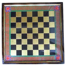 Fabulous C1870 English Verre Eglomise Chess Board