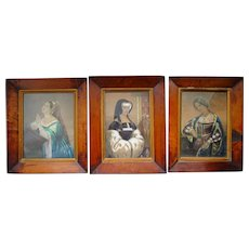 C1800 Set of Three Elm Framed Prints with added Body Colour