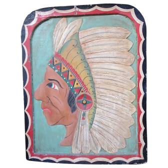 Vintage Native American Polychrome Fairground panel
