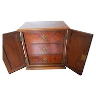 Fine Bur Walnut and Mahogany Collectors / Table Cabinet