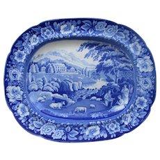 C1800-20 Riley's Semi China Blue White Transfer Ware  Platter