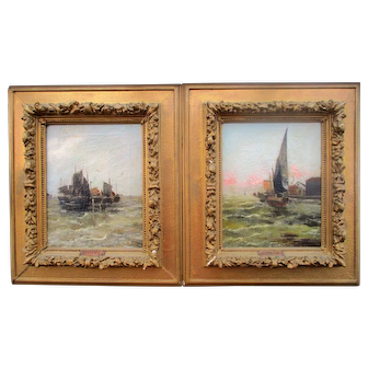 Pair of Victorian Impressionist Coastal Shipping Scenes Oils on canvas signed L.Nitra