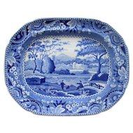 C1820 English Blue & White Transfer Ware Platter