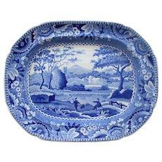 C1820 English Blue & White Transfer Ware Platter