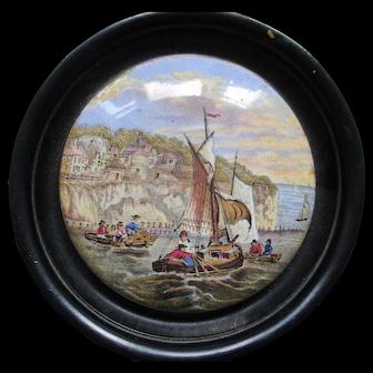 Victorian Prattware Pot Lid Framed