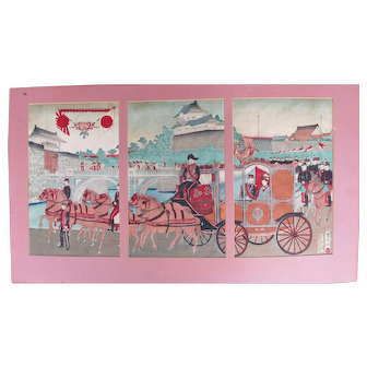 Antique Original Japanese Woodblock Tryptych