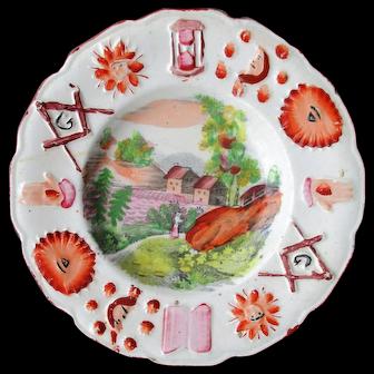C1820 Unusual Staffordshire Masonic Childs Plate