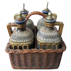 Fabulous Set of Victorian Doulton Lambeth Whiskey and Spirits Jars / Decanters