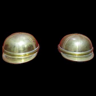 Fine pair of Edwardian Cut Glass and Jockeys Cap desk inkwells