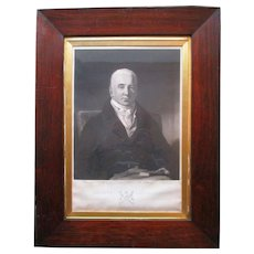 Antique Engraving George Abercromby Scottish 1770-1843 Fine Rosewood Frame
