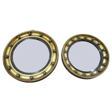 Two  Victorian Porthole Mirrors