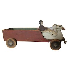 Early C20th Century Folk Art Carved Wooden Toy Truck / Egg Cart