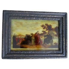 Fine Antique C1800 Reverse Glass Mezzotint Hand Coloured.