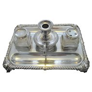 Fine C1840 Sheffield Silver Plate Desk Standish / Desk Tidy