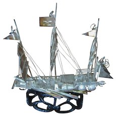 Vintage Hong Kong Sterling Silver Junk Ship on stand
