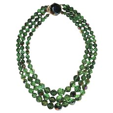 "Vintage Green Faceted AB Crystal 3 Strands Necklace ""Gorgeous"""